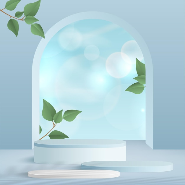 Products display 3d background podium scene with blue shape geometric platform and green leaves. vector illustration.