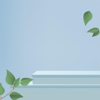 Products display 3d background podium scene with blue shape geometric platform and green leaves. vector illustration