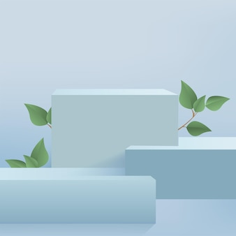 Products display 3d background podium scene with blue shape geometric platform and green leaves. vector illustration Premium Vector
