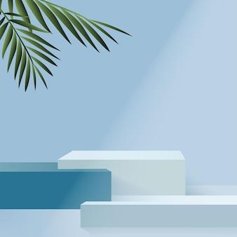 製品は、青い形の幾何学的なプラットフォームで3d背景表彰台シーンを表示します。ベクトルイラスト Premiumベクター