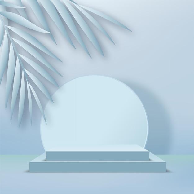 製品は、青い形の幾何学的なプラットフォームで3d背景表彰台シーンを表示します。ベクトルイラスト