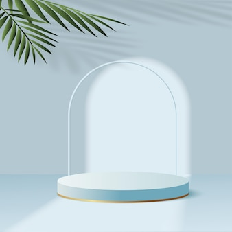 Products display 3d background podium scene with blue shape geometric platform. vector illustration
