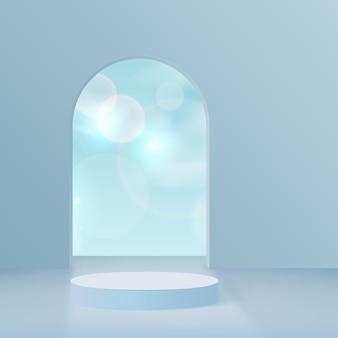 Products display 3d background podium scene with blue shape geometric platform. vector illustration.