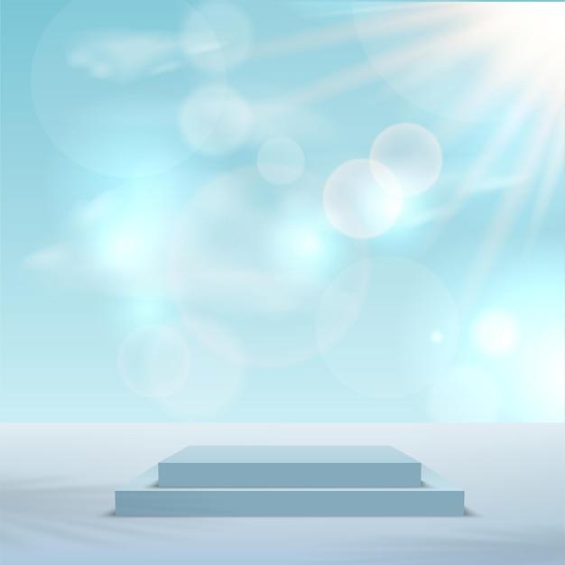 製品は、青い空と形状の幾何学的なプラットフォームで3d背景表彰台シーンを表示します。ベクトルイラスト。