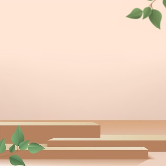 Products display 3d background podium scene with brown shape geometric platform and green leaves. vector illustration.