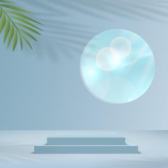 製品は、雲の空と青い形の幾何学的なプラットフォームを備えた3d背景表彰台シーンを表示します。ベクトルイラスト。