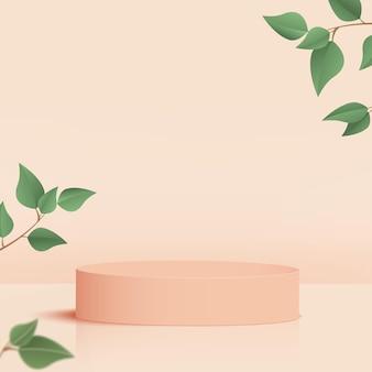 제품은 크림 모양의 기하학적 플랫폼과 녹색 잎이 있는 3d 배경 연단 장면을 표시합니다. 벡터 일러스트 레이 션.