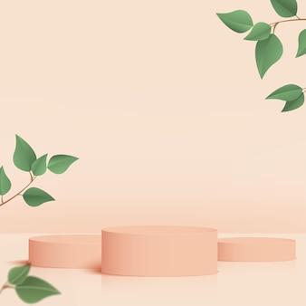 製品は、クリーム色の幾何学的なプラットフォームと緑の葉で3d背景表彰台シーンを表示します。ベクトルイラスト。