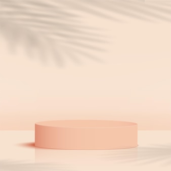 製品は、クリーム色の幾何学的なプラットフォームで3d背景表彰台シーンを表示します。ベクトルイラスト