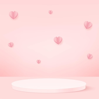 Products display 3d background podium scene with flying hearts and pink shape geometric platform. vector illustration.