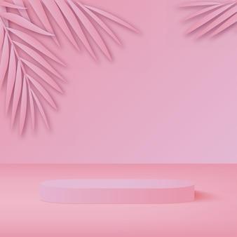 製品は、ピンクの形の幾何学的なプラットフォームで3dの背景の表彰台のシーンを表示します。ベクトルイラスト