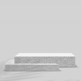 製品は、石の幾何学的なプラットフォームで3d背景表彰台シーンを表示します。ベクトルイラスト。