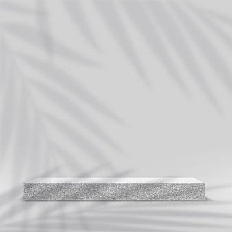 製品は、白い色の白い形の幾何学的なプラットフォームで3d背景表彰台シーンを表示します。ベクトルイラスト。