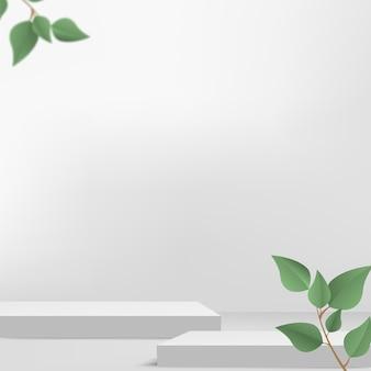 製品は、白い形の幾何学的なプラットフォームと緑の葉で3d背景表彰台シーンを表示します。ベクトルイラスト