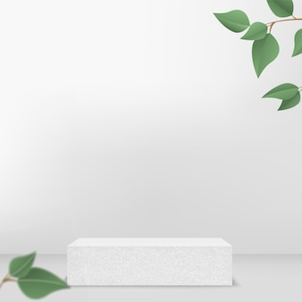 Products display 3d background podium scene with white shape geometric platform and green leaves. vector illustration