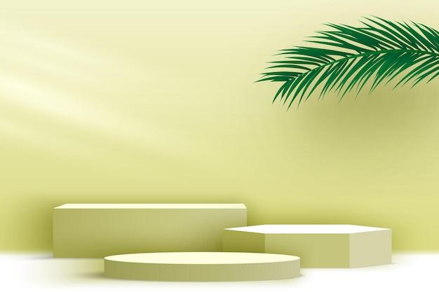 製品は、ヤシの葉でプラットフォームの空白の表彰台を表示しますベージュの台座3dレンダリングステージ