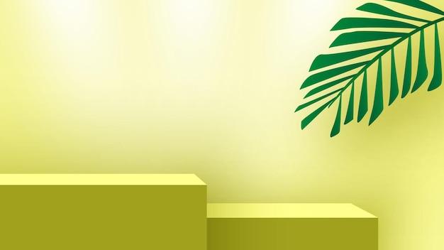 製品展示台ヤシの葉のある空白の表彰台台座展示スタンド