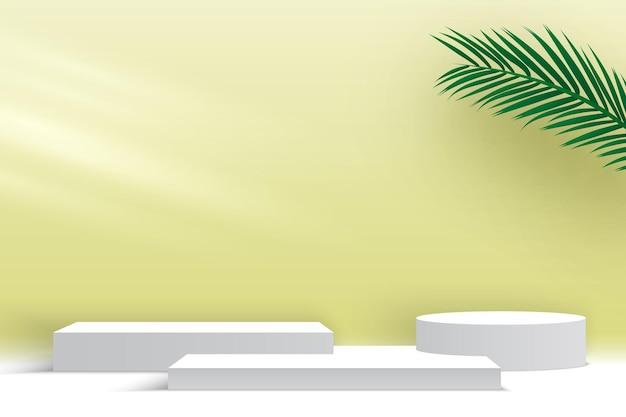 製品は、ヤシの葉の白い台座の3dレンダリングステージでプラットフォーム空白の表彰台を表示します
