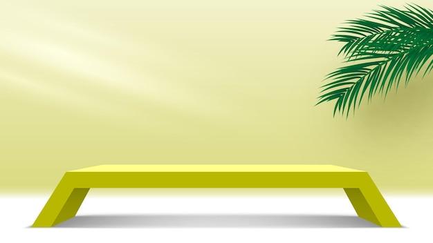 製品ディスプレイプラットフォーム空白の表彰台とヤシの葉黄色の台座3dレンダリングステージ