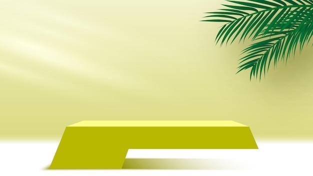 製品は、ヤシの葉が黄色い台座の3dレンダリングステージでプラットフォームの空白の表彰台を表示します
