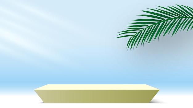 製品ディスプレイプラットフォーム表彰台とヤシの葉空白の台座3dレンダリングステージスタンド