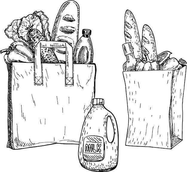 Продукты в продуктовом пакете и экологическом продуктовом пакете. эскиз. рисованной иллюстрации