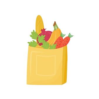Продукты в бумажный мешок мультфильм иллюстрации. упакованный багет, фрукты и овощи плоский цветной объект. хлебобулочные и органические продукты, хлеб и зелень, изолированные на белом фоне