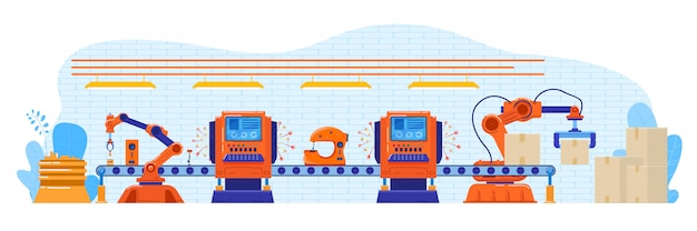 Products packaging by robot illustration, cartoon flat automatic factory conveyor process on packing with modern robotic arms