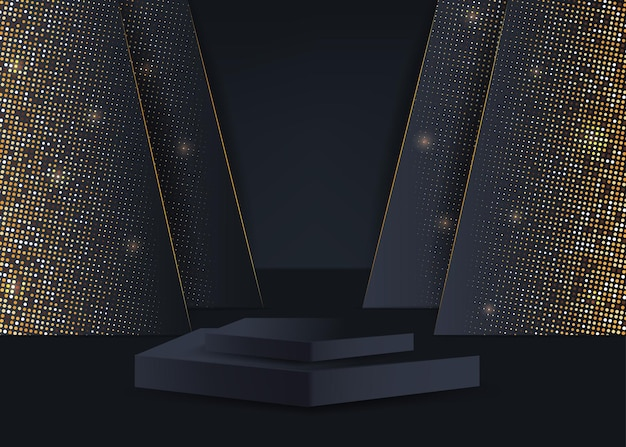 Products podium on the black abstract background