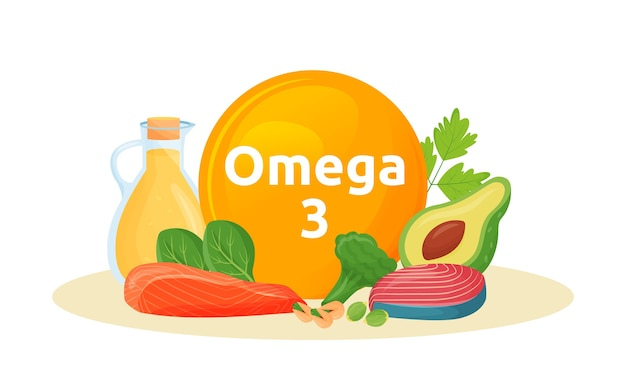Products reach of omega 3 cartoon illustration