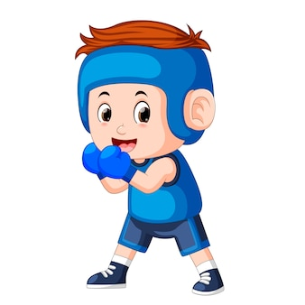 Profesional atletes boy plays boxing