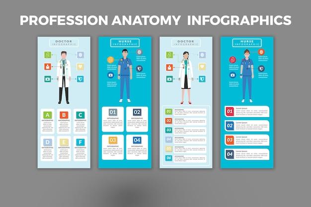 Дизайн шаблона инфографики анатомии профессии