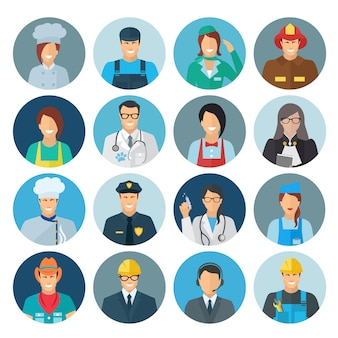 Profession avatar flat icon set with chef mechanic policeman