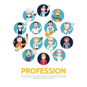 Profession avatars set in flat style