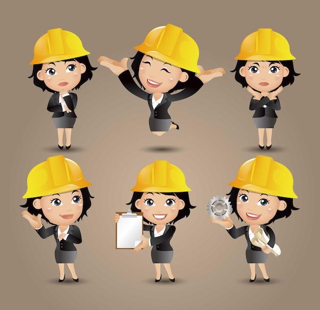 Инженер-строитель профессии с разными позами