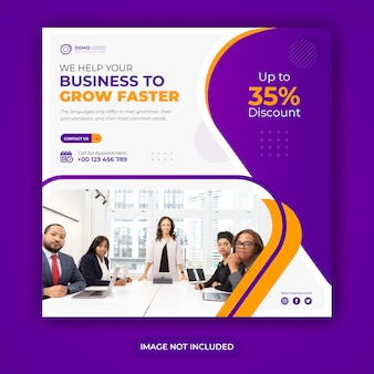 Profession business grow social media banner template with square flyer