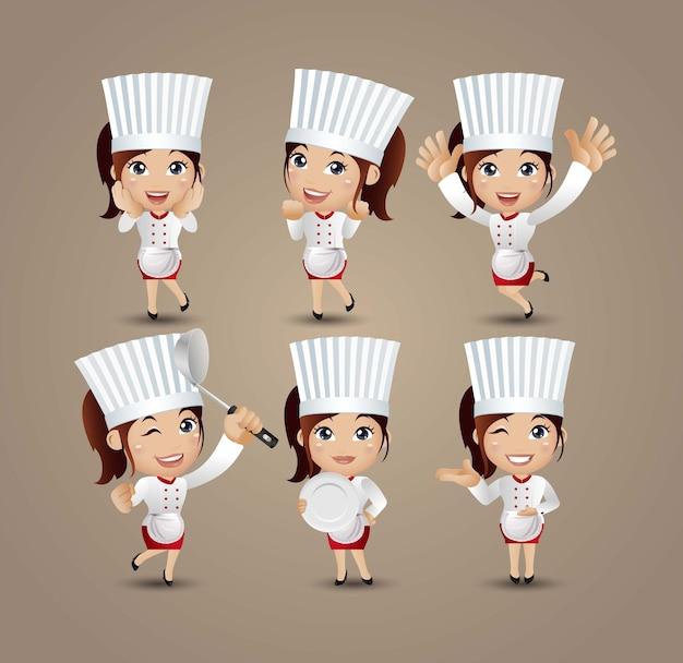 Profession - chef with different poses