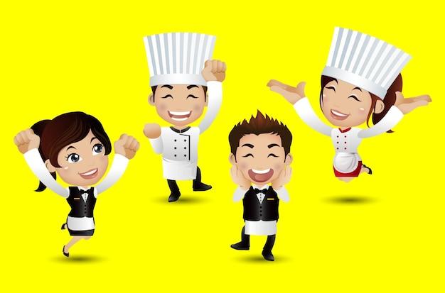다양한 포즈의 전문 요리사