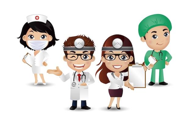 さまざまなポーズの職業医師