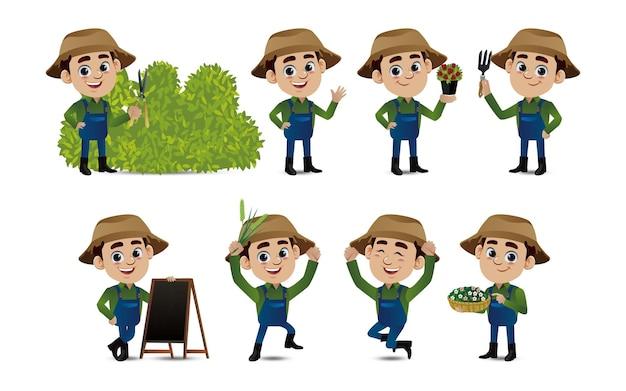 さまざまなポーズの職業農家