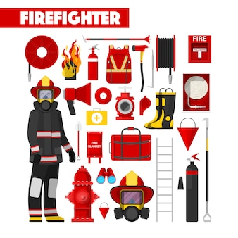 Profession firefighter  icons set with firefighters equipment
