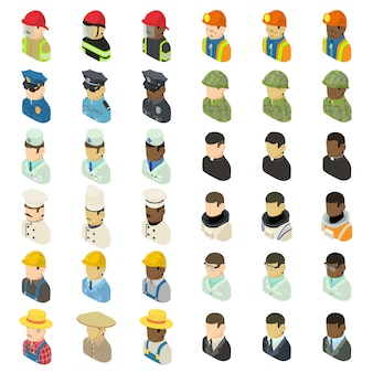 Profession icons set. isometric illustration of 36 profession vector icons for web