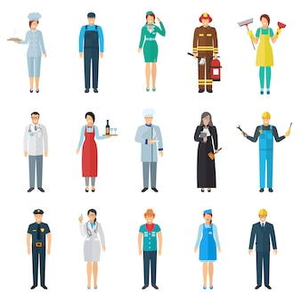 Profession and job avatar with standing people icons set