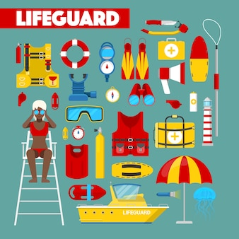 Profession lifeguard water rescue with safety  icons