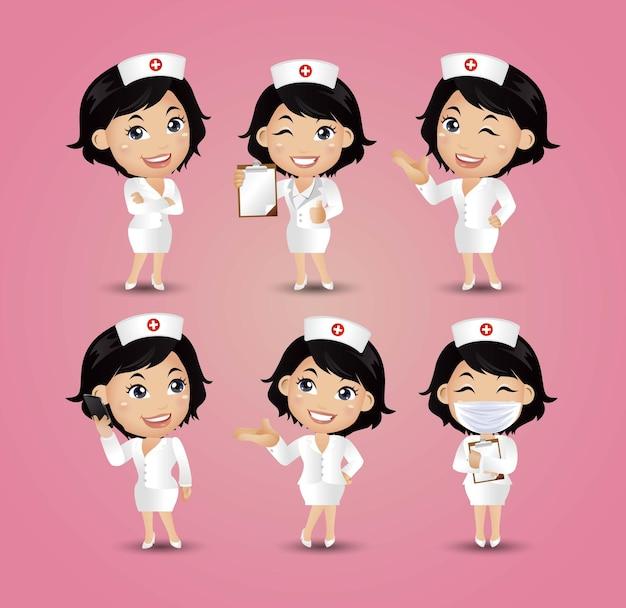 Профессия - медсестра в разных позах