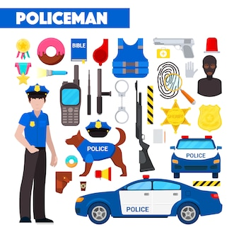 Profession policeman  icons set with police car and handcuffs