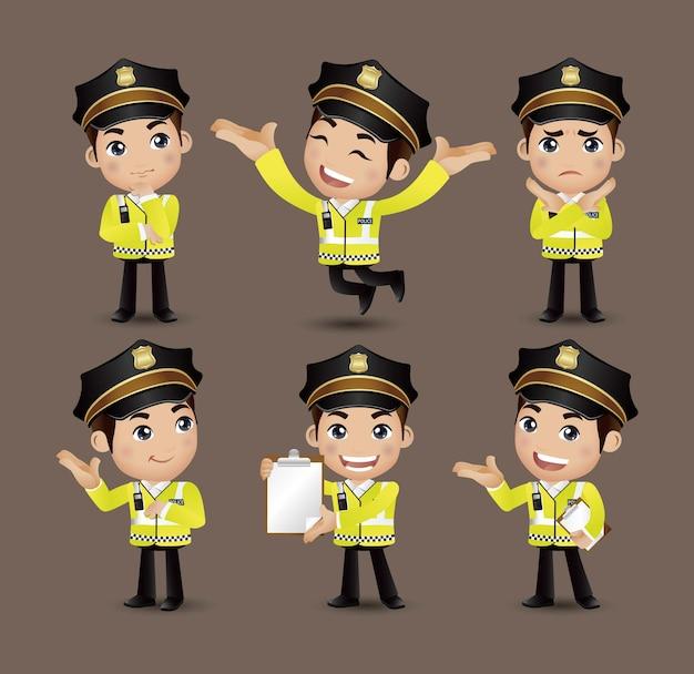 職業-さまざまなポーズの警官