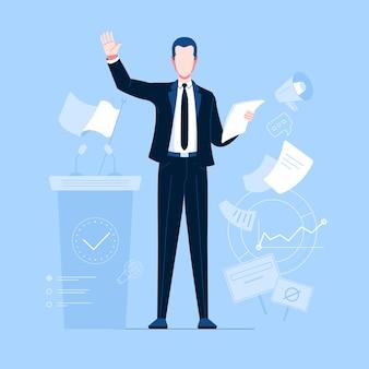 Profession politician in black suite business costume