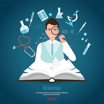 Profession scientist holding magnifying with open book