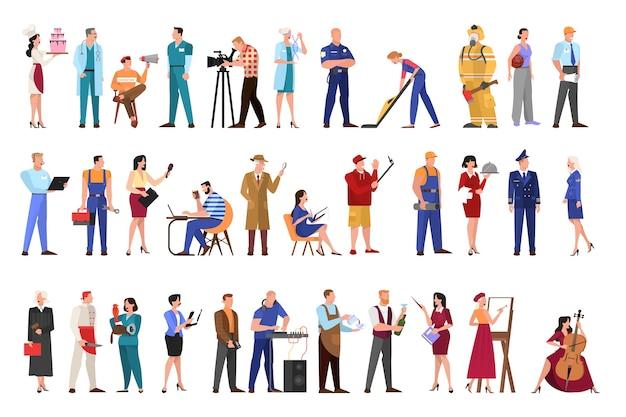 직업 세트. 직업, 남녀의 컬렉션
